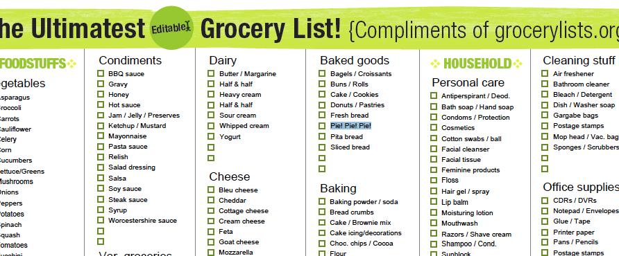 a better grocery list